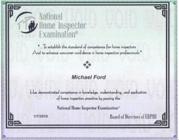 National Home Inspector Examination Certificate.