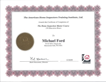 Certificate for completing the Master Course by the American Home Inspectors Training Institute.