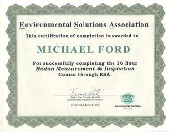 Environmental Solutions Association - Certificate for Completing 16 Hour Radon Measurement & Inspection Course