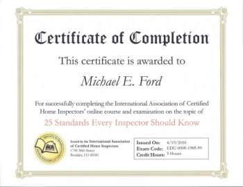 InterNACHI Certificate of Completion - 25 Standards Every Inspector Should Know