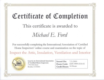InterNACHI Certificate of Completion - Inspect the Attic, Insulation, Ventilation, and Interior