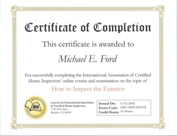 InterNACHI Certificate of Completion - How to Inspect the Exterior