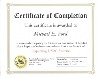 InterNACHI Certificate of Completion - Inspecting HVAC Systems