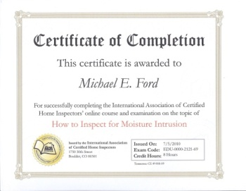 InterNACHI Certificate of Completion - How to Inspect for Moisture Intrusion