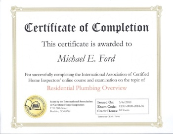 InterNACHI Certificate of Completion - Residential Plumbing Overview