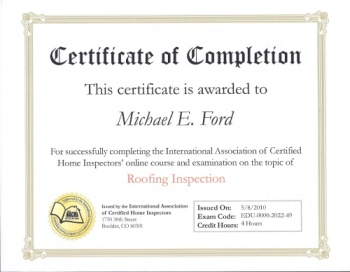 InterNACHI Certificate of Completion - Roofing Inspection
