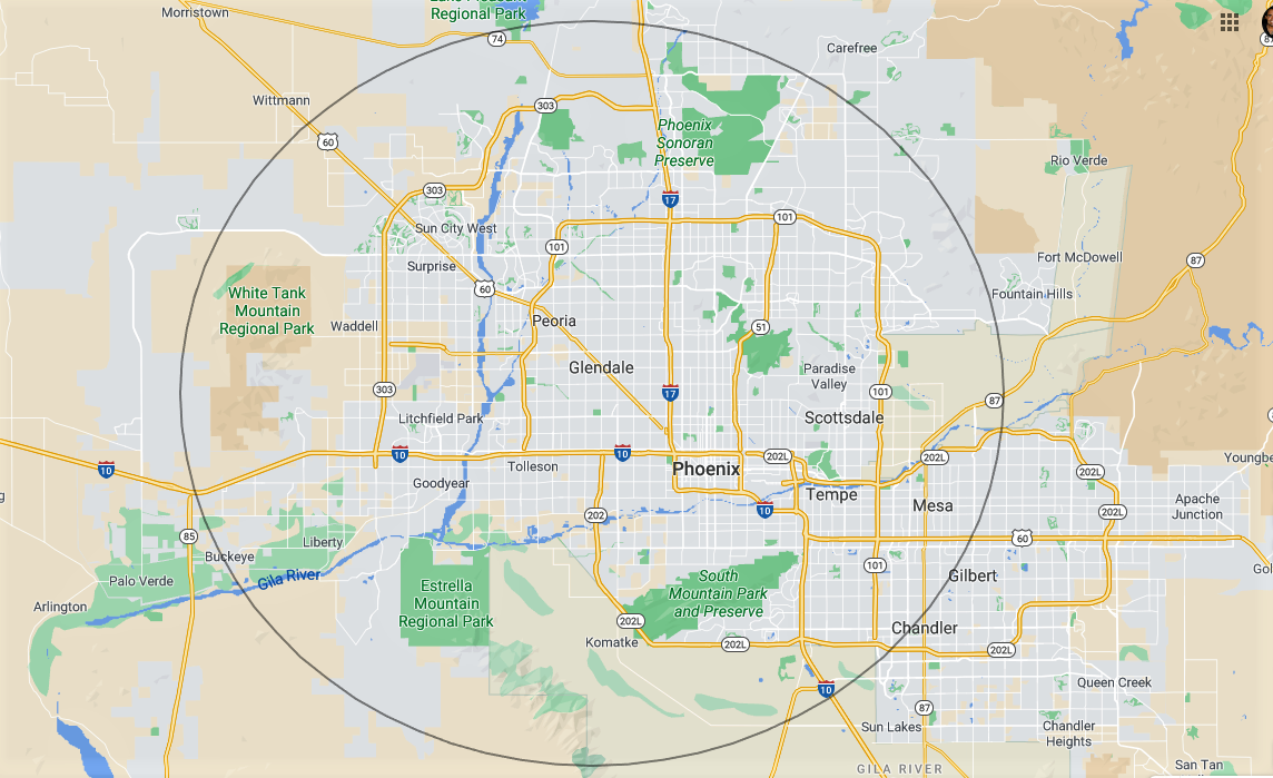 Map of Phoenix, Arizona, and surrounding areas.