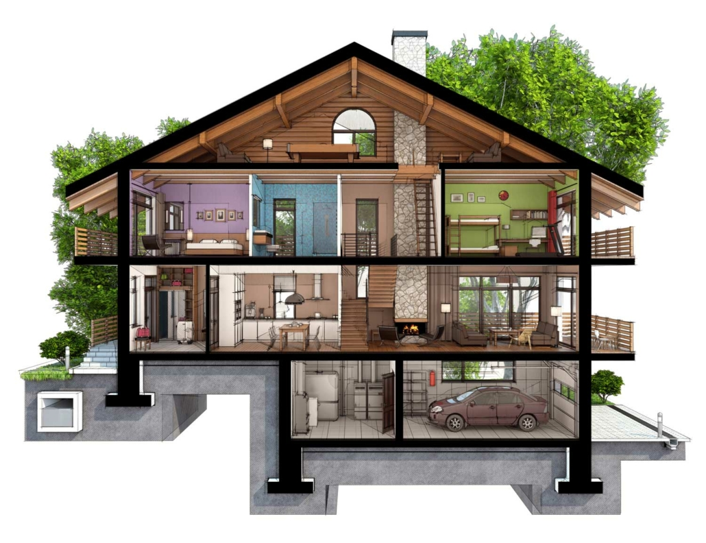 Infographic of a house cut in half.