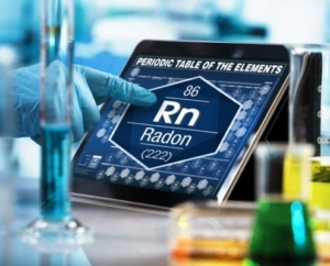 Shows chemical element of radon